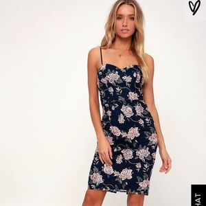 Lulu's As Time Grows By Navy Embroidered Dress